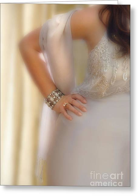 Young Lady In Satin Gown With Hand On Hip Greeting Card by Jill Battaglia