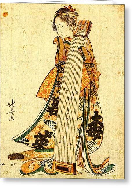 Young Maiden With Koto 1800 Greeting Card