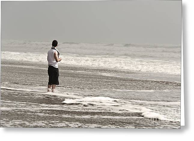 Young Man And The Pacific Ocean Greeting Card by Yurix Sardinelly