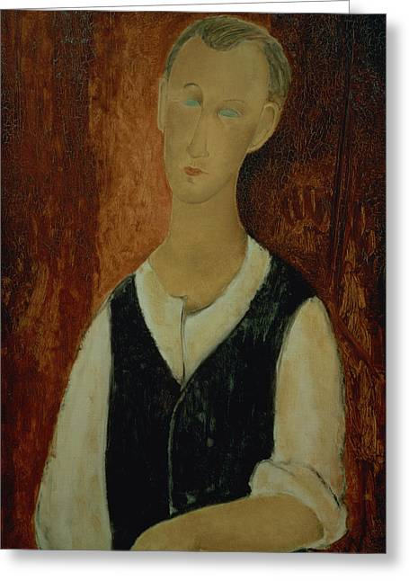 Young Man With A Black Waistcoat Greeting Card by Amedeo Modigliani