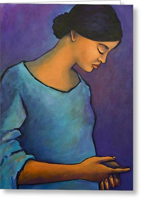 Young Mexican Girl In Blue Greeting Card