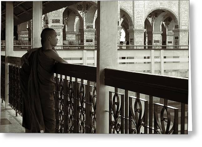 Young Monks In Mandalay Hill Greeting Card by RicardMN Photography