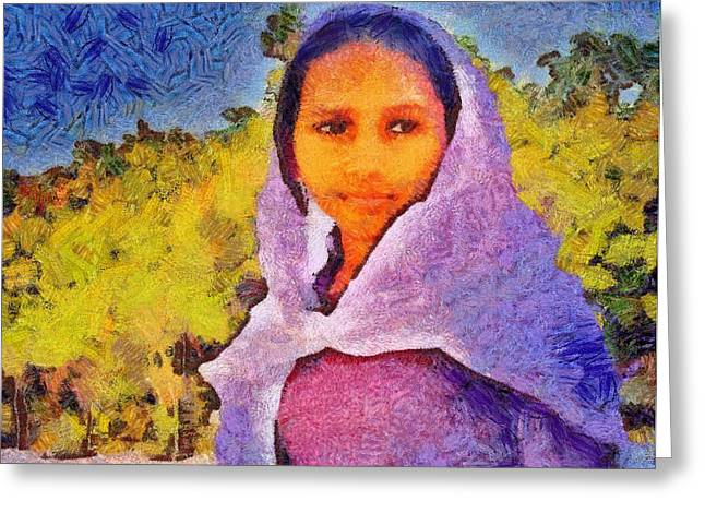 Young Moroccan Girl Greeting Card
