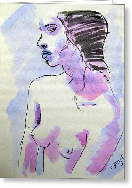 Greeting Card featuring the painting Young Nude Female Girl Sitting In Contemplation Introspective Or Watercolor On Textured Paper by M Zimmerman