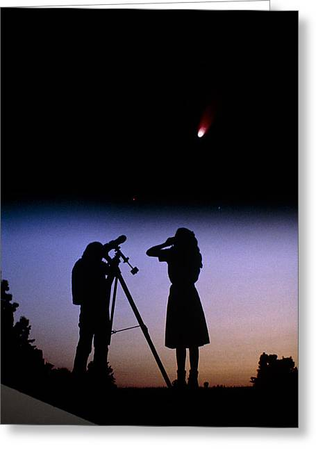 Young People Observe A Bright Comet Greeting Card