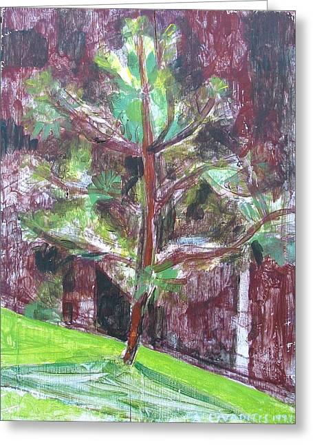 Greeting Card featuring the painting Young Pine Tree by Anita Dale Livaditis