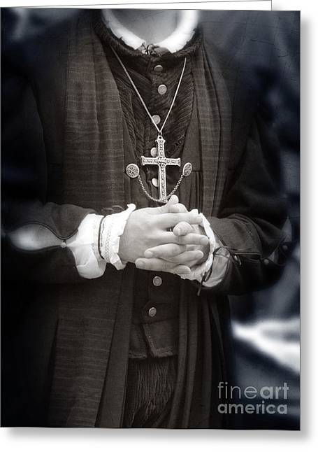 Young Renaissance Priest Greeting Card by Jill Battaglia