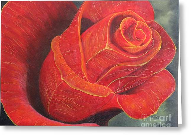 Young Rose Greeting Card by Gina DeRuggiero