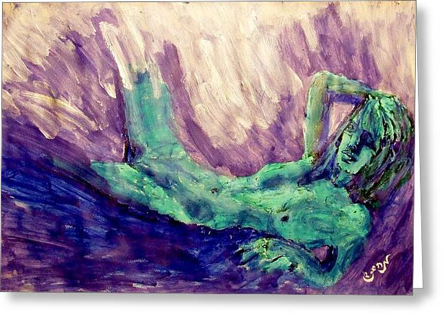 Young Statue Of Liberty Falling From Grace Female Figure Portrait Painting In Green Purple Blue Greeting Card by MendyZ M Zimmerman