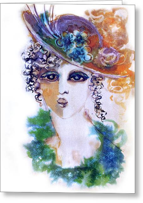 Young Woman Face With Curls In Blue Green Dress Purple Hat With Flower  Greeting Card