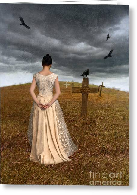 Young Woman Grieving By Grave Greeting Card by Jill Battaglia