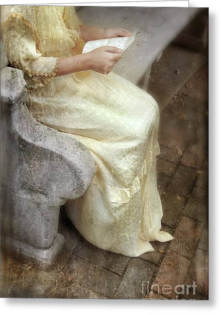 Young Woman In Victorian Gown With A Letter Greeting Card