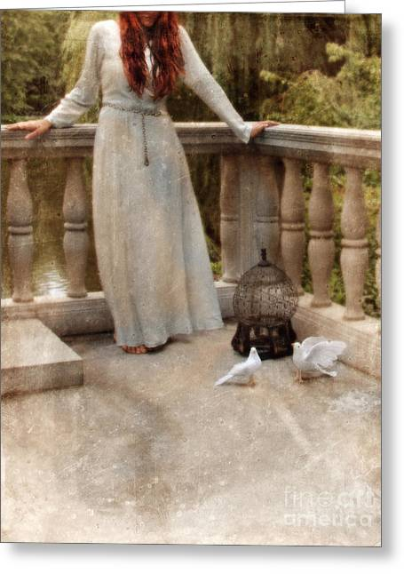 Young Woman In Vintage Dress With Doves Greeting Card