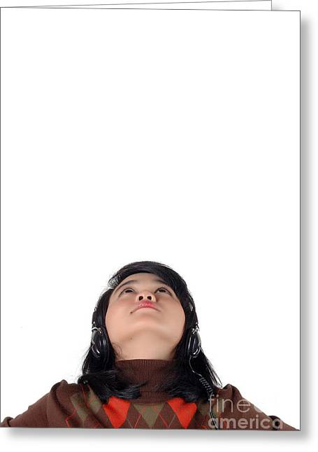 Young  Woman Looked Up To The Top And Enjoying The Music  Greeting Card by Antoni Halim