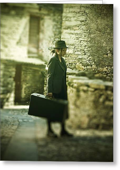 Young Woman With Suitcase Greeting Card by Joana Kruse