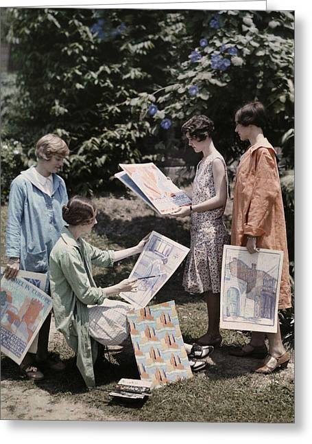 Young Women From Newcomb College Gather Greeting Card by Edwin L. Wisherd