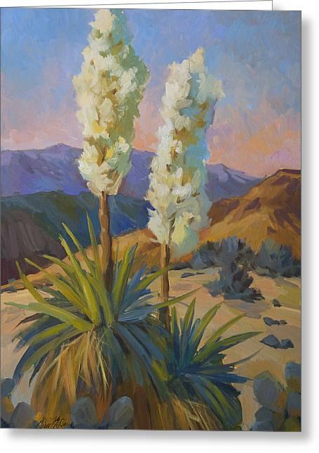 Desert Lake Greeting Cards - Yuccas Greeting Card by Diane McClary