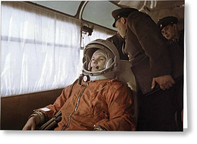 Yuri Gagarin Before Launch, 1961 Greeting Card by Ria Novosti