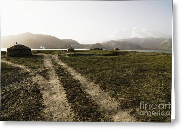Yurts And A Dirt Road Greeting Card by Sam Bloomberg-rissman
