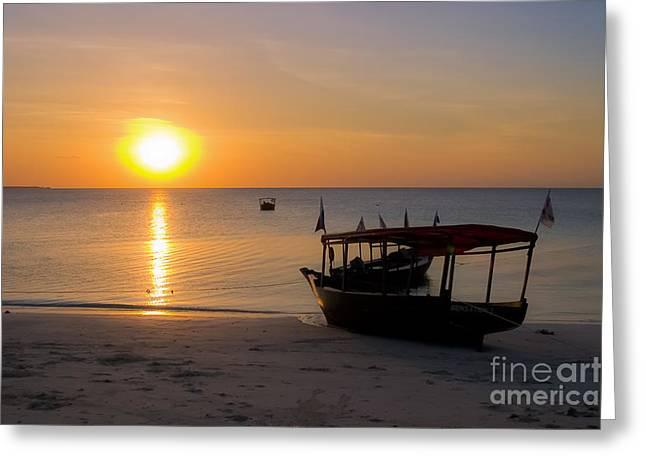 Zanzibar Boat At Sunset Greeting Card by Darcy Michaelchuk