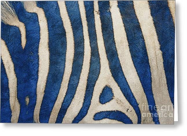 Zebra In Blue Greeting Card