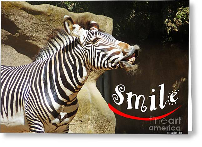 Zebra Smile Greeting Card by Methune Hively