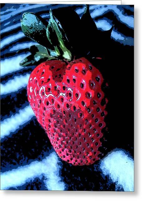 Zebra Strawberry Greeting Card by Kym Backland