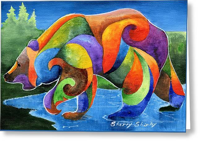 Zen Bear Greeting Card by Sherry Shipley