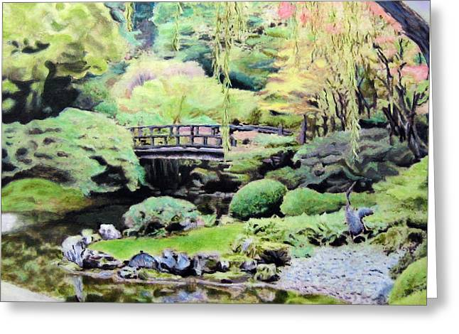 Zen Japanese Garden- Panel 2 Greeting Card by Chris Ripley