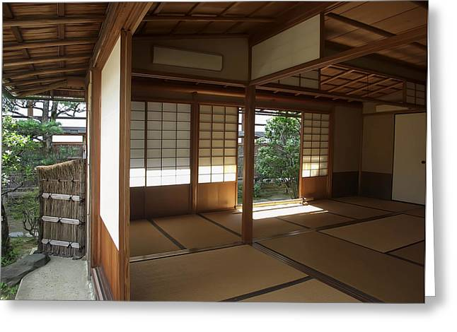 Zen Meditation Room Open To Garden - Kyoto Japan Greeting Card by Daniel Hagerman