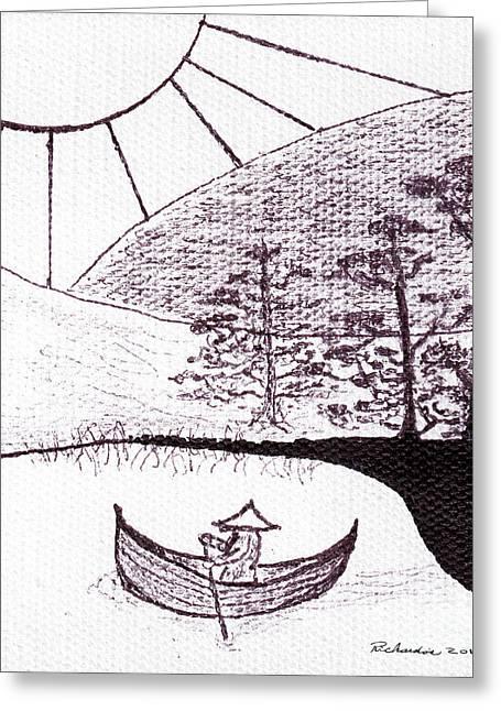 Zen Sumi Asian Lake Fisherman Black Ink On White Canvas Greeting Card