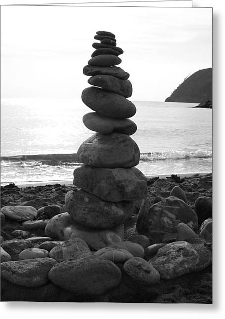 Zen Tower Greeting Card by Ramona Johnston
