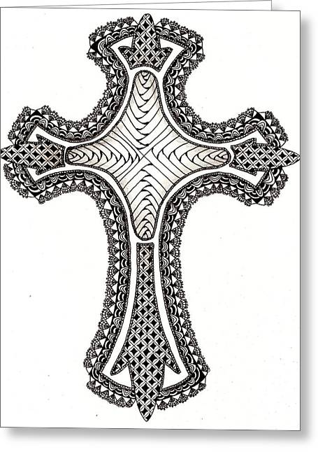 Zentangle Cross Greeting Card by Michelle Kidwell