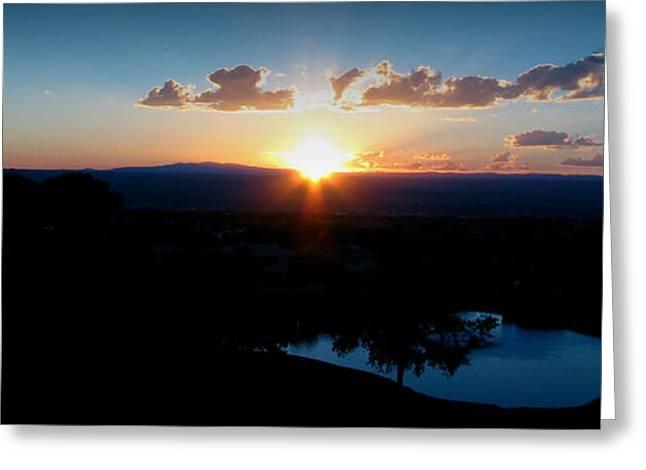 Zia Sun Over Tanoan Greeting Card by Aaron Burrows