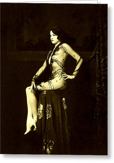 Ziegfeld Girl Jean Ackerman In Black Translucent Lace Gown Greeting Card by Rosie Mills