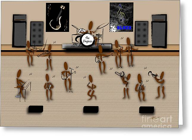 Zinglees-the Blues Band Greeting Card by Linda Seacord