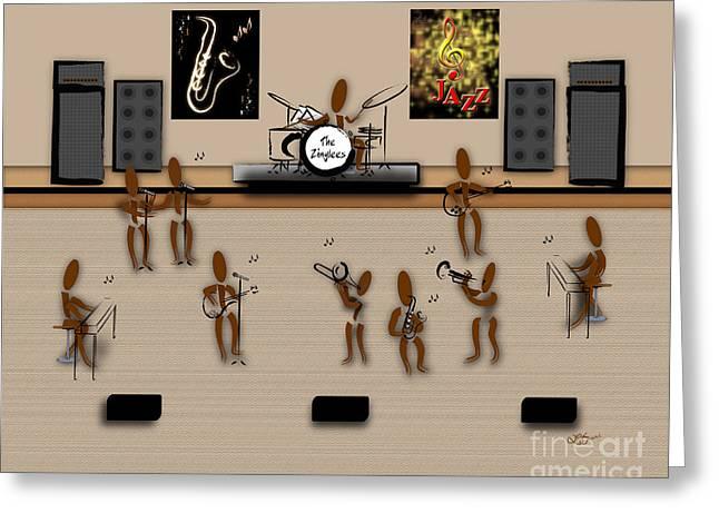 Zinglees-the Jazz Band Greeting Card