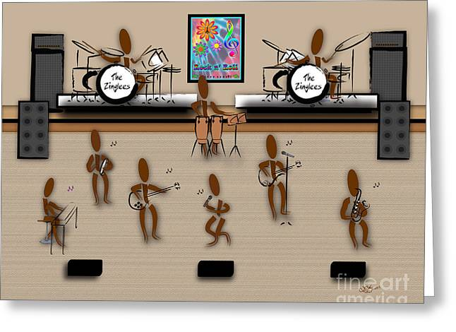 Zinglees-the Rock Band Greeting Card by Linda Seacord