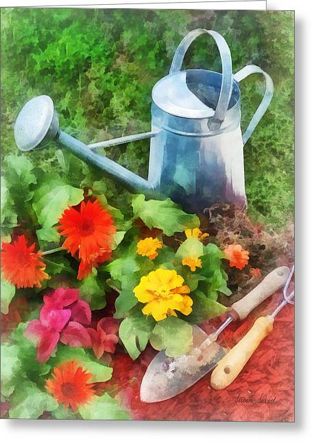 Zinnias And Watering Can Greeting Card