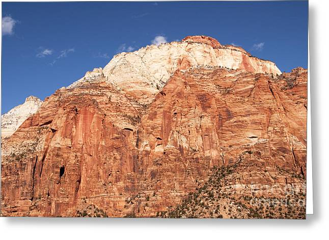 Greeting Card featuring the photograph Zion Red Rock by Bob and Nancy Kendrick