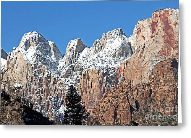 Greeting Card featuring the photograph Zion Towers by Bob and Nancy Kendrick