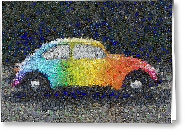 Zodiac Vw Bug Mosaic Greeting Card by Paul Van Scott