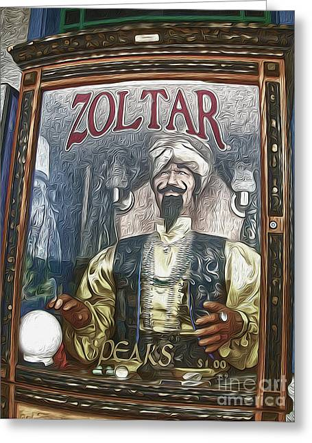 Zoltar The Fortune Teller Greeting Card by Gregory Dyer