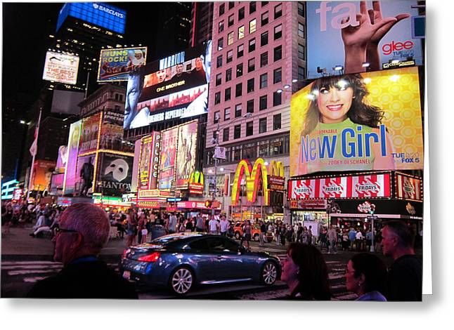 Zooey Deschanel Lights Up Broadway Greeting Card