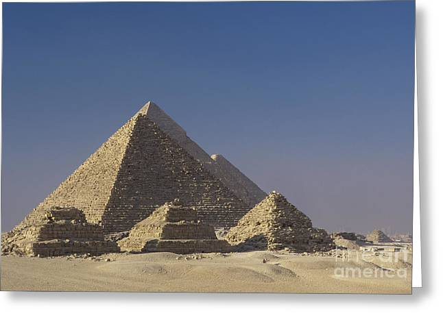 Zoser And Giza Pyramids Greeting Card by Adam Crowley