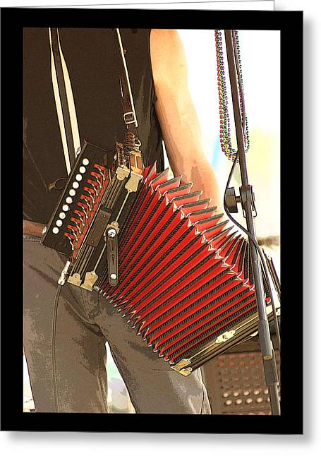 Zydeco Red Accordian Greeting Card by Margie Avellino