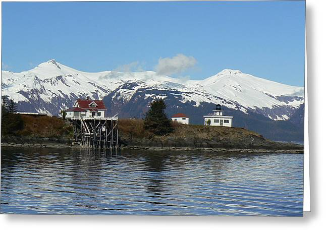 Greeting Card featuring the photograph         Alaska. Lighthouse  by Sergey and Svetlana Nassyrov