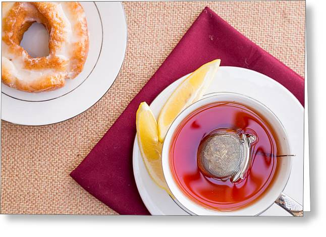 Breakfast With Pastries, And Hot Tea With Lemon #1 Greeting Card by Jon Manjeot