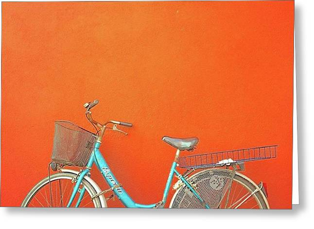 Blue Bike In Burano Italy Greeting Card by Anne Hilde Lystad