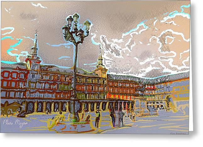 # 12 Plaza Mayor Madrid Greeting Card by Alan Armstrong